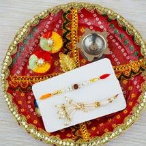Dil ka Rishta Rakhi Set with Red Puja Thali: Australia Rakhi Delivery