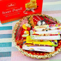 Four Rakhi Set With Soan Papdi and Traditional Thali: Send Rakhi to Sydney
