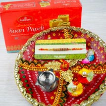 Rakhi with Soan Papdi and Traditional Thali: Send Rakhi to Sydney