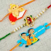 Three Colorful Rakhi Set: Send Rakhi for Kids to Australia