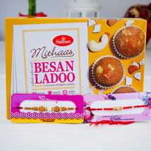 Two Rakhi With Indian Sweet Besan Ladoo: Send Rakhi to Sydney