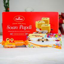 Two Shakti Rakhi Set With Soan Papdi: Rakhi for Kids Australia
