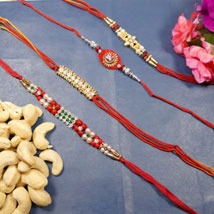 Beautiful Rakhi set of Four With Cashew: Send Rakhi to Toronto