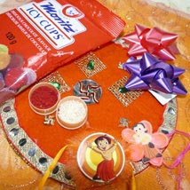 Chota Bheem Rakis Set Of Two Thali with Icy Cups: Rakhi to Toronto