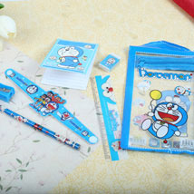 Doraemon Stationary Set Rakhi: Send Rakhi to Toronto