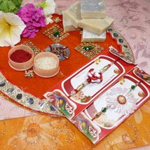 Flower Rakhi Set of Two Thali with Kaju Katli: Send Rakhi to Toronto