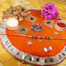 Rudraksh Rakhi Thali With Almond: Rakhi to Toronto