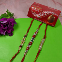 Trendy Rakhi Set Of Three With Lindt Lindor: Send Rakhi to Toronto
