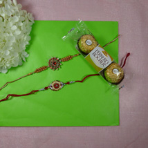 Trendy Rakhi Set Of Two With Ferrero Rocher: Send Rakhi to Toronto