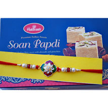 Zardozi Floral Rakhi with Soan Papdi: Send Rakhi to Toronto