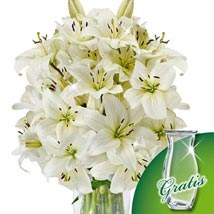 10 white lilies in a bunch: Gifts to Frankfurt