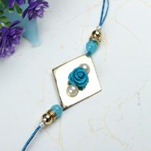 Blue Rose with Pearl Rakhi HAI: Send Rakhi to Haiti