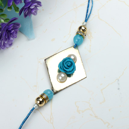 Blue Rose with Pearl Rakhi INDO