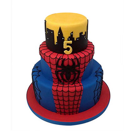 3 Tier Spiderman Cake 5kg Eggless
