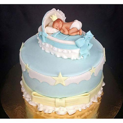 Baby In The Crib Fondant Cake 4kg Eggless