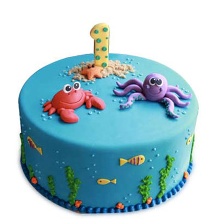 Baby Sea Animals Cake 2kg Eggless Vanilla