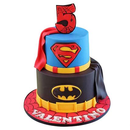 Batman N Superman Cake 5kg Eggless