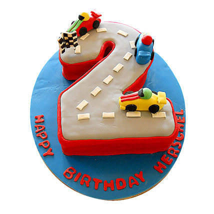 Car Race Birthday Cake 3kg Eggless Pineapple