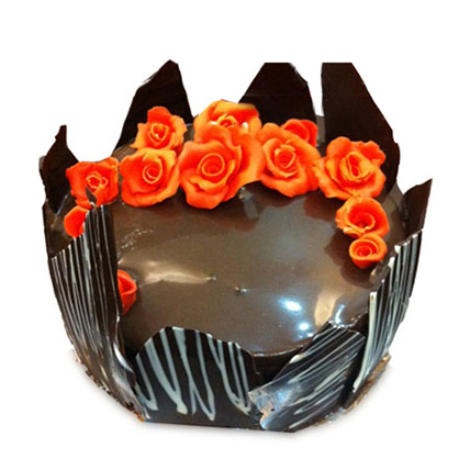 Chocolate Cake With Red Flowers 1kg Eggless