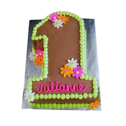 Chocolaty 1st Birthday Cake 4kg Eggless Vanilla