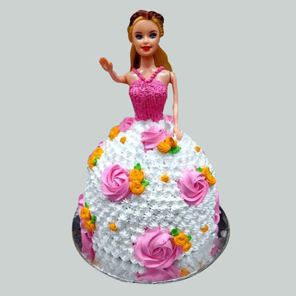 Floral Barbie Cake Pineapple 2kg Eggless