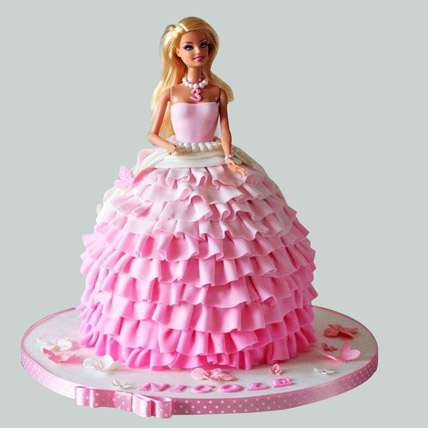 Pink Dress Barbie Cake 3kg Eggless