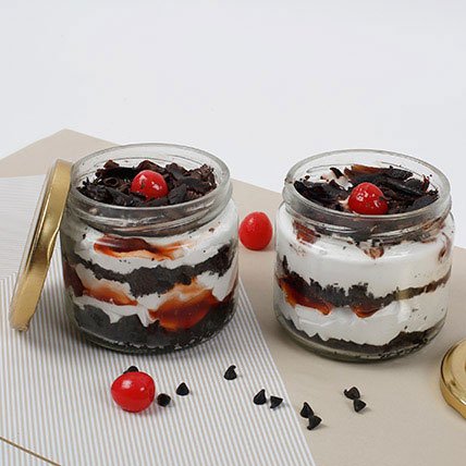 Sizzling Black Forest Jar Cake Eggless Set of 6