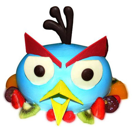 The Blue Angry Bird Cake Eggless 1kg by FNP