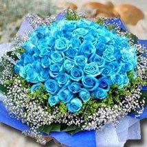99 Blue Roses: Send Christmas Flowers to Singapore