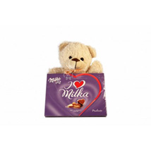 Sweet Milka Hearts with A Teddy: Gifts to Sweden