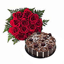 1 Dozen Roses with Cake: Birthday Gift Delivery in UAE