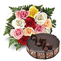 12 Multicolored Roses with Cake: Rose Day Gifts