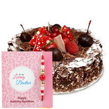 Blackforest Cake with Rakhi: Send Rakhi to Fujairah