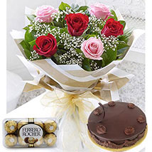 Blushing Beauty Combo: Birthday Flowers and Cakes in UAE
