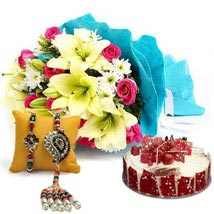Elegant Bouquet with Cake N Rakhi: Send Rakhi to Fujairah