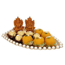 Pearl boat basket with sweets: Send Diwali Sweets to Abu Dhabi