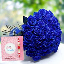 Rakhi with Blue Roses: Send Rakhi to Fujairah