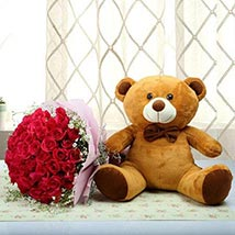 Teddy With Red Roses: Send Flower Bouquets to UAE