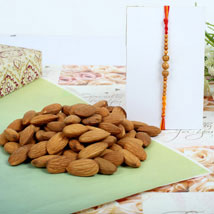 Almond nuts with Sandal Rakhi: Rakhi to London Boroughs