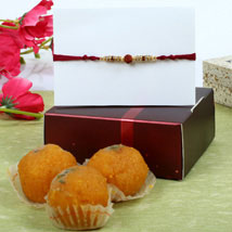 Maroon Rudrakash Moti Choor Ladoo Hamper: Rakhi to London Boroughs