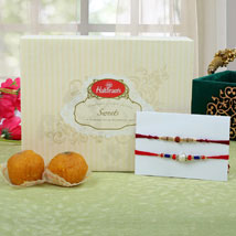 Premium Rakhi with Moti Choor Ladoo: Send Rakhi to London Boroughs