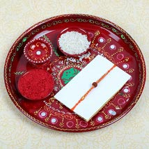 Puja thali with Rudraksh Rakhi: Send Rakhi to London Boroughs