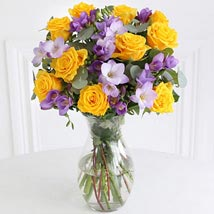 Rose n Freesia Bouquet: Send Christmas Flowers to UK