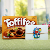 Toffiee with Cartton Doraemon Rakhi: Send Rakhi to London Boroughs