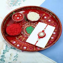 Traditionl Red Diamond Rakhi PujaThali Set: Rakhi to London Boroughs