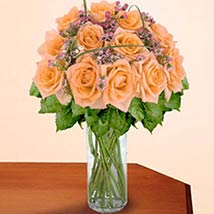 12 Long Stem Peach Roses: Valentines Day Gifts Manchester