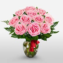12 Long Stem Pink Roses: Valentines Day Gifts to Manchester