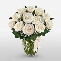 12 Long Stem White Roses: Valentines Day Gifts Manchester
