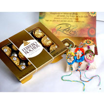 12 PCS Ferrero Rocher with 3 Rakhis: Send Rakhi to Pittsburgh