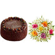 Chocolate Cake with Assorted Rose and Lily Bouquet: Send Birthday Gifts to Raleigh